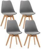 Set van 4 eetkamerstoelen Lenaris Grijs,Kunststoff_