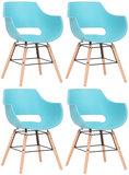 Set van 4 stoelen Skein Blauw,natura_