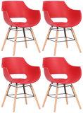 Set van 4 stoelen Skein Rood,natura_