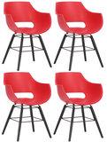 Set van 4 stoelen Skein Rood,Zwart_