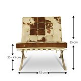 Barcelona Chair Xclusive Cowhide Bruin/Wit_