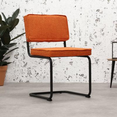 Industriele Eetkamerstoel Rib Industrial Oranje - Zwart Frame