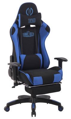Gaming Stoel Lorenzo XFM Blauw Stof met Voetsteun en Massagefunctie