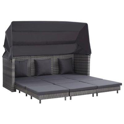 Slaapbank met luifel 3-zits verlengbaar poly rattan grijs