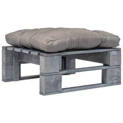 Tuinpoef met grijs kussen pallet hout grijs
