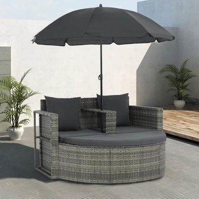 Tuinbank tweezits met kussens en parasol poly rattan grijs