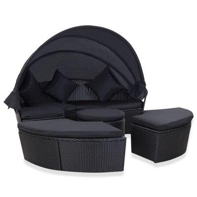 Loungebed met luifel poly rattan zwart