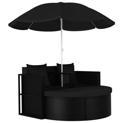 Tuinbed met parasol poly rattan zwart