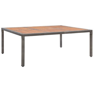Tuintafel 200x150x74 cm poly rattan en massief acaciahout grijs