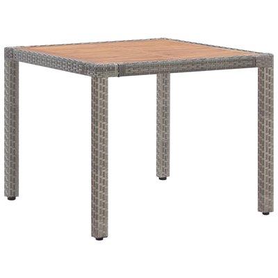 Tuintafel 90x90x75 cm poly rattan en massief acaciahout grijs