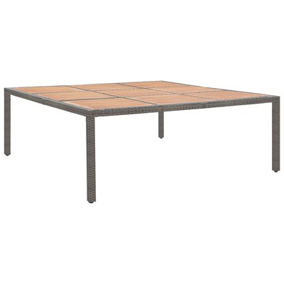 Tuintafel 200x200x74 cm poly rattan en acaciahout grijs