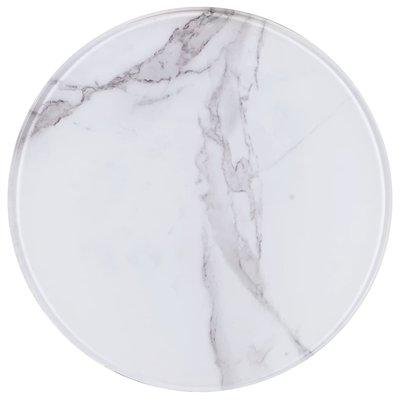 Tafelblad Ø 30 cm glas met marmeren textuur wit