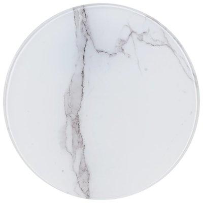 Tafelblad Ø 40 cm glas met marmeren textuur wit
