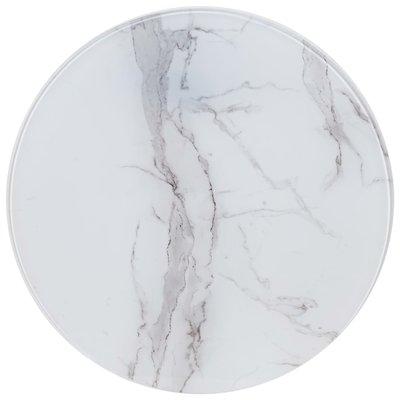 Tafelblad Ø 50 cm glas met marmeren textuur wit