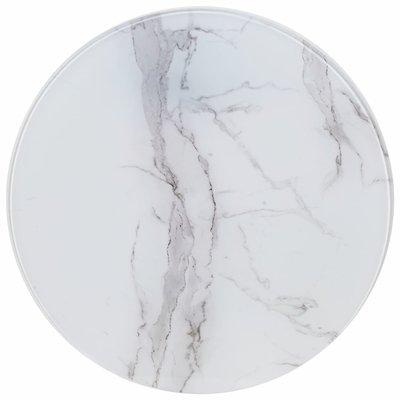 Tafelblad Ø 70 cm glas met marmeren textuur wit