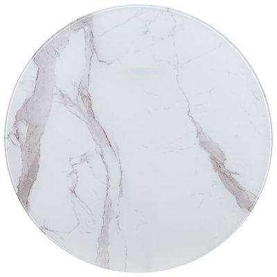 Tafelblad Ø 80 cm glas met marmeren textuur wit