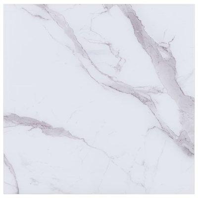Tafelblad vierkant 70x70 cm glas met marmeren textuur wit