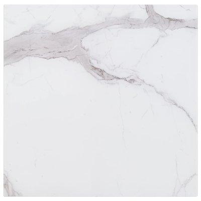 Tafelblad vierkant 80x80 cm glas met marmeren textuur wit