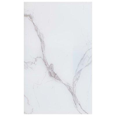 Tafelblad rechthoekig 100x62 cm glas met marmeren textuur wit