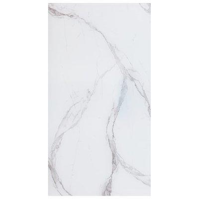Tafelblad rechthoekig 120x65 cm glas met marmeren textuur wit