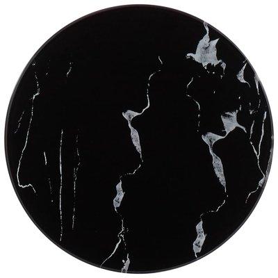 Tafelblad Ø 30 cm glas met marmeren textuur zwart