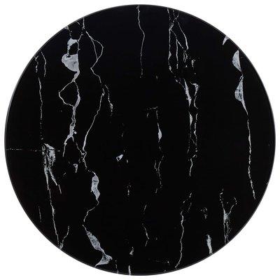 Tafelblad Ø 50 cm glas met marmeren textuur zwart