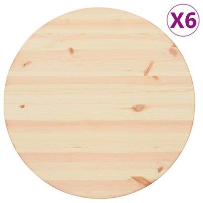 Tafelbladen 6 st rond 25 mm 60 cm natuurlijk grenenhout