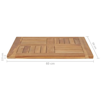 Tafelblad 60x60x2,5 cm massief teakhout