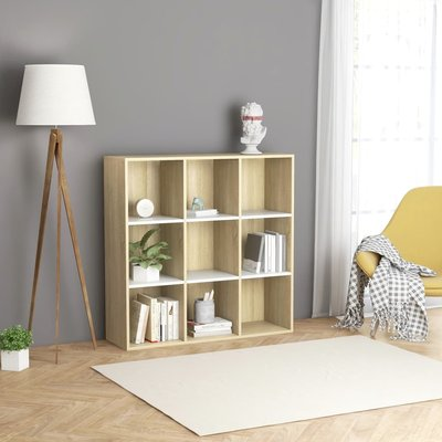 Boekenkast 98x30x98 cm spaanplaat wit en sonoma eikenkleurig