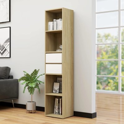 Boekenkast 36x30x171 cm spaanplaat wit en sonoma eikenkleurig