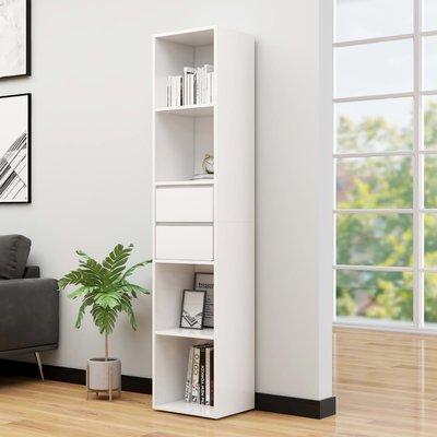 Boekenkast 36x30x171 cm spaanplaat hoogglans wit