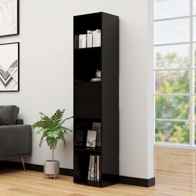 Boekenkast 36x30x171 cm spaanplaat hoogglans zwart