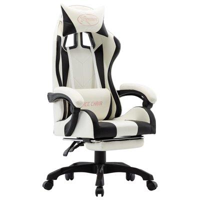 Racestoel met voetensteun kunstleer zwart en wit