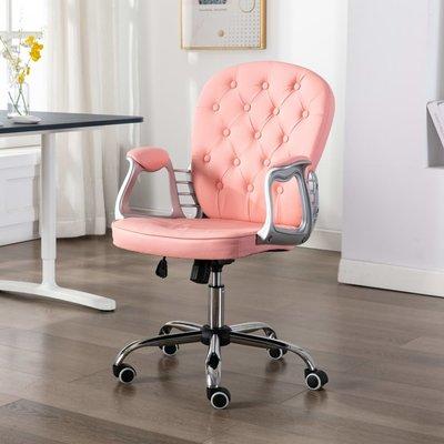 Kantoorstoel draaibaar kunstleer roze