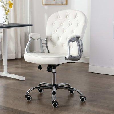 Kantoorstoel draaibaar kunstleer wit