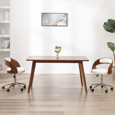 Kantoorstoel draaibaar gebogen hout en kunstleer wit