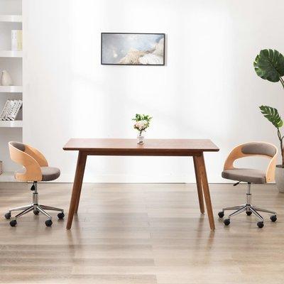 Kantoorstoel draaibaar gebogen hout en stof taupe