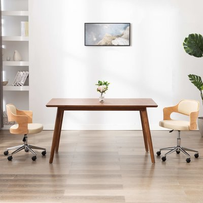 Kantoorstoel draaibaar gebogen hout en kunstleer crème