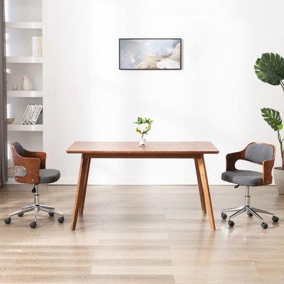 Kantoorstoel draaibaar gebogen hout en stof grijs