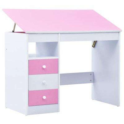 Kindertekentafel/-bureau kantelbaar roze en wit
