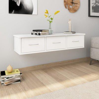 Wandschap met lades 90x26x18,5 cm spaanplaat wit