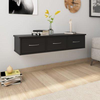 Wandschap met lades 90x26x18,5 cm spaanplaat zwart