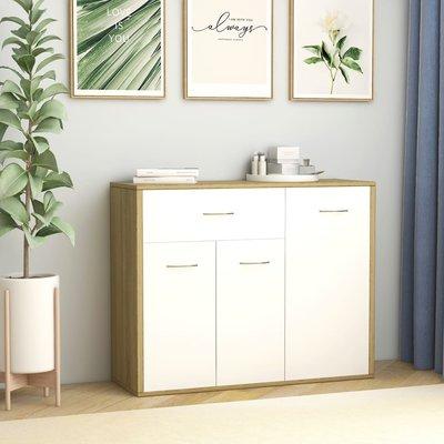 Dressoir 88x30x70 cm spaanplaat wit en sonoma eikenkleurig
