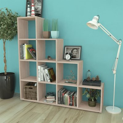 Boekenkast/presentatiemeubel trapvormig 142 cm eikenkleur