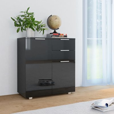 Dressoir 71x35x76 cm spaanplaat hoogglans zwart