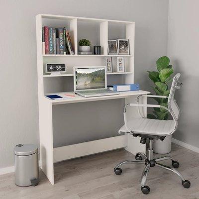 Bureau met schappen 110x45x157 cm spaanplaat wit