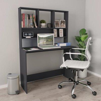 Bureau met schappen 110x45x157 cm spaanplaat grijs