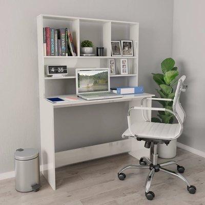 Bureau met schappen 110x45x157 cm spaanplaat hoogglans wit