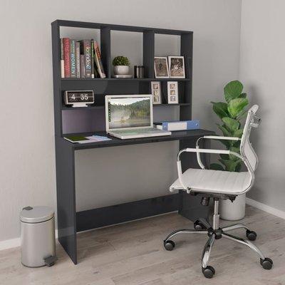 Bureau met schappen 110x45x157 cm spaanplaat hoogglans grijs