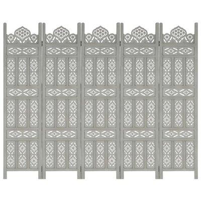 Kamerscherm 5 panelen handgesneden 200x165 cm mangohout grijs